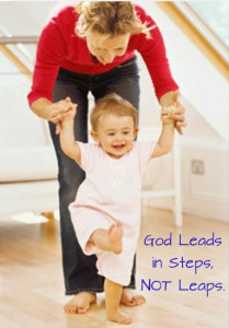 God leads in steps, not leaps.